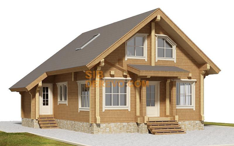 Проект двухэтажного дома-бани